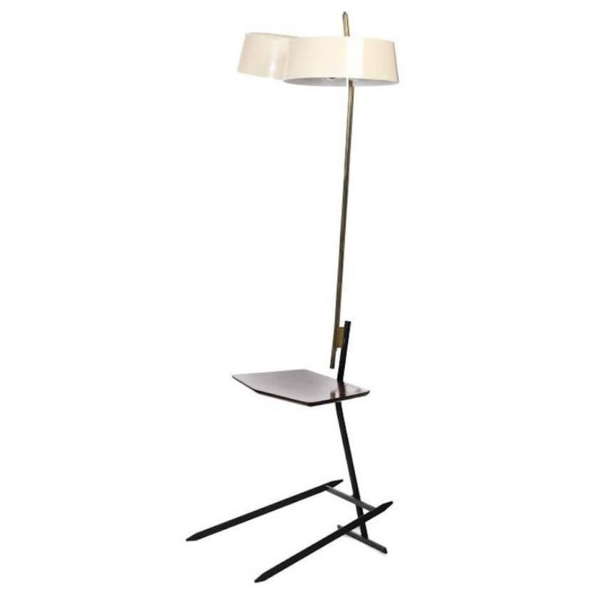 Stehlampe aus Messing & Lackiertem Metall, 1950er