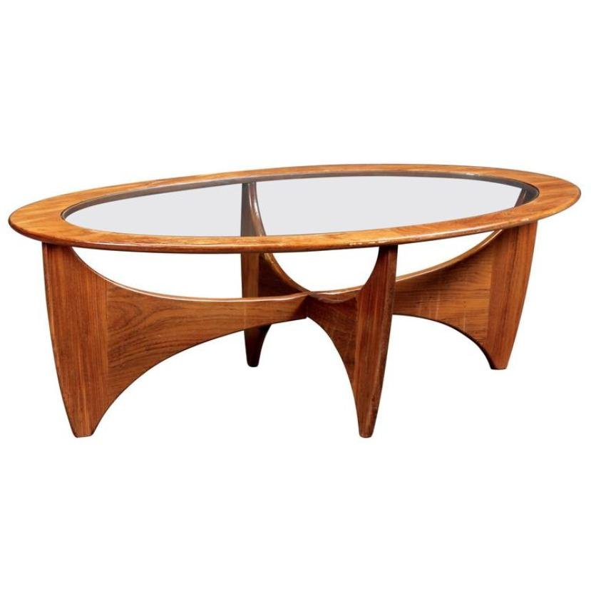 G Plan Vintage Coffee Tables: Oval Teak Coffee Table With Glass Top From G-Plan, 1960s