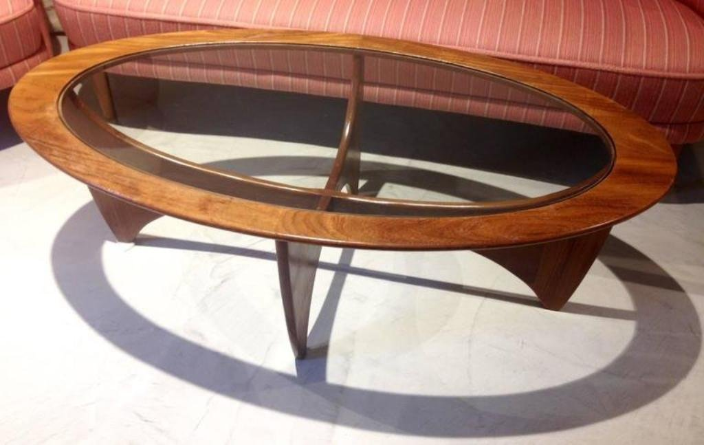 Oval Teak Coffee Table With Gl Top From G Plan 1960s