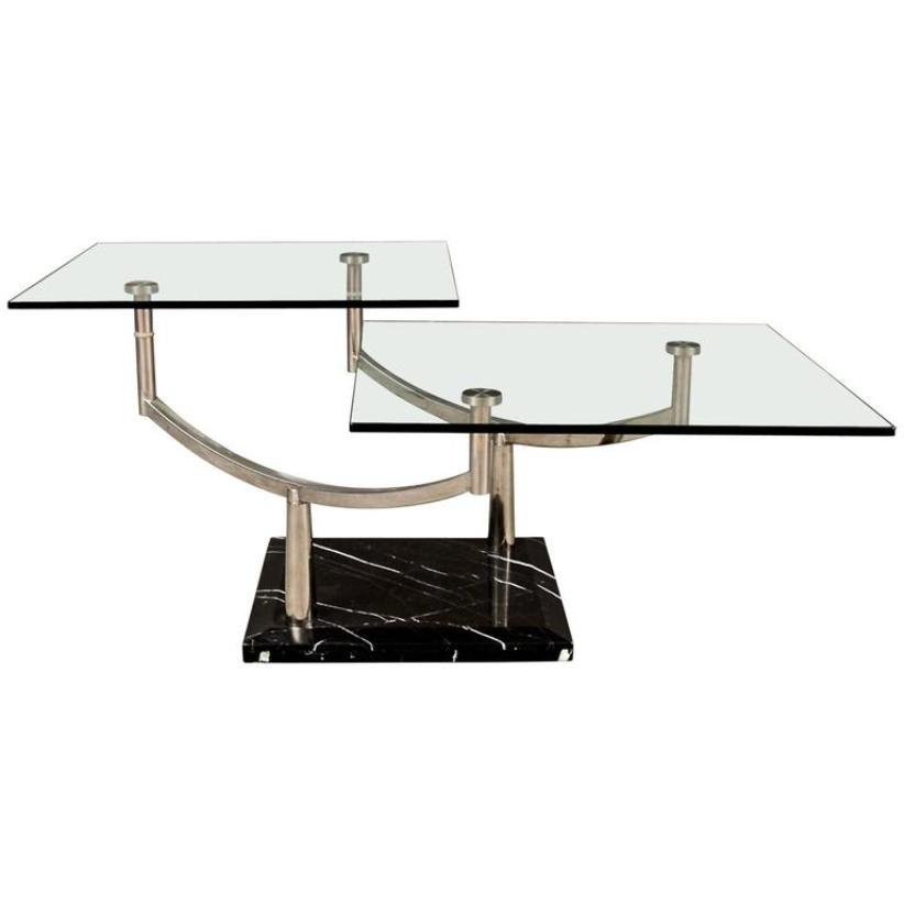 Stone And Glass Coffee Tables: Two-Tiered Glass Coffee Table With A Chrome Frame & Stone