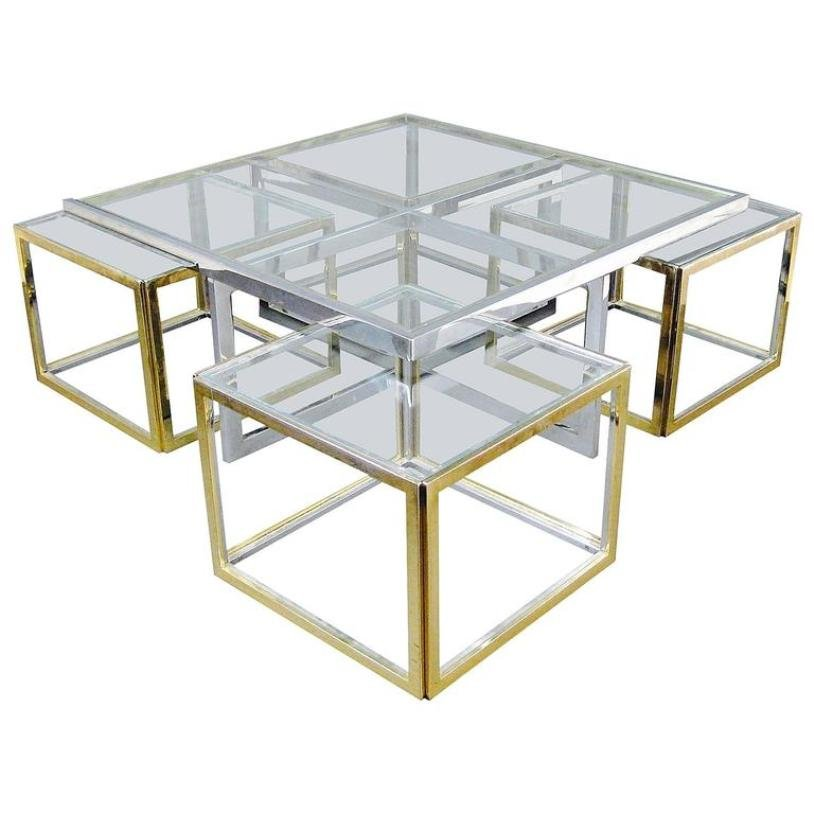 grande table basse en verre et en m tal en vente sur pamono. Black Bedroom Furniture Sets. Home Design Ideas