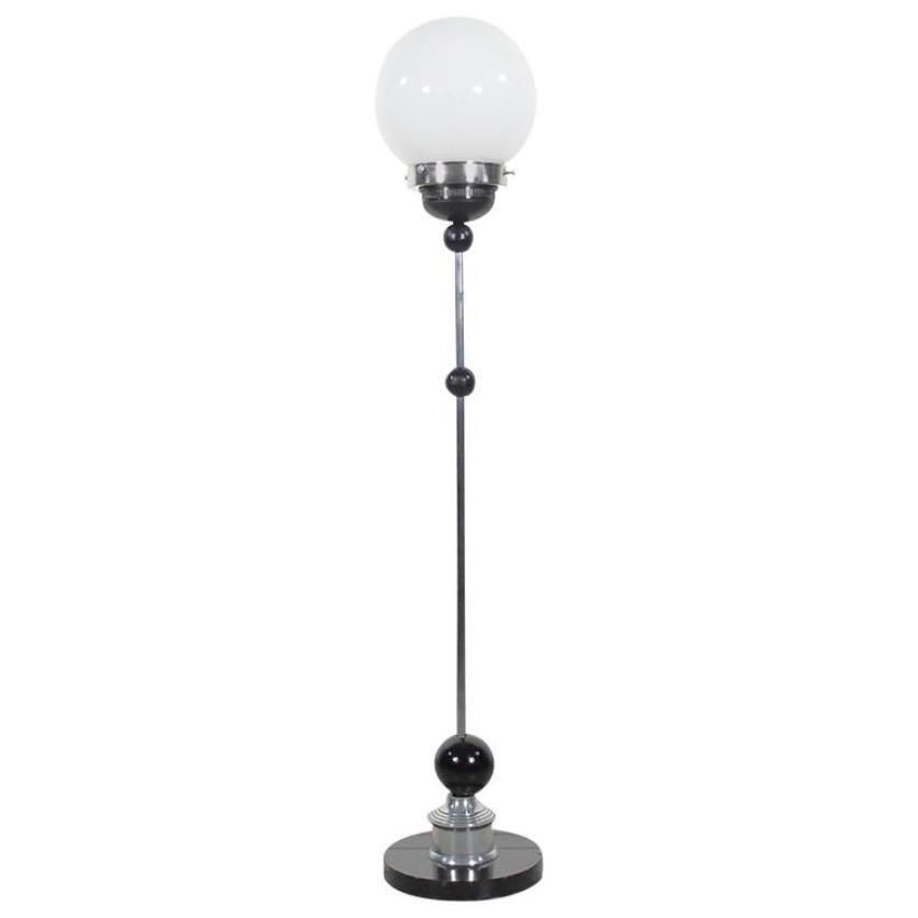 Vintage Art Deco Chrom Stehlampe mit Runder Glasleuchte
