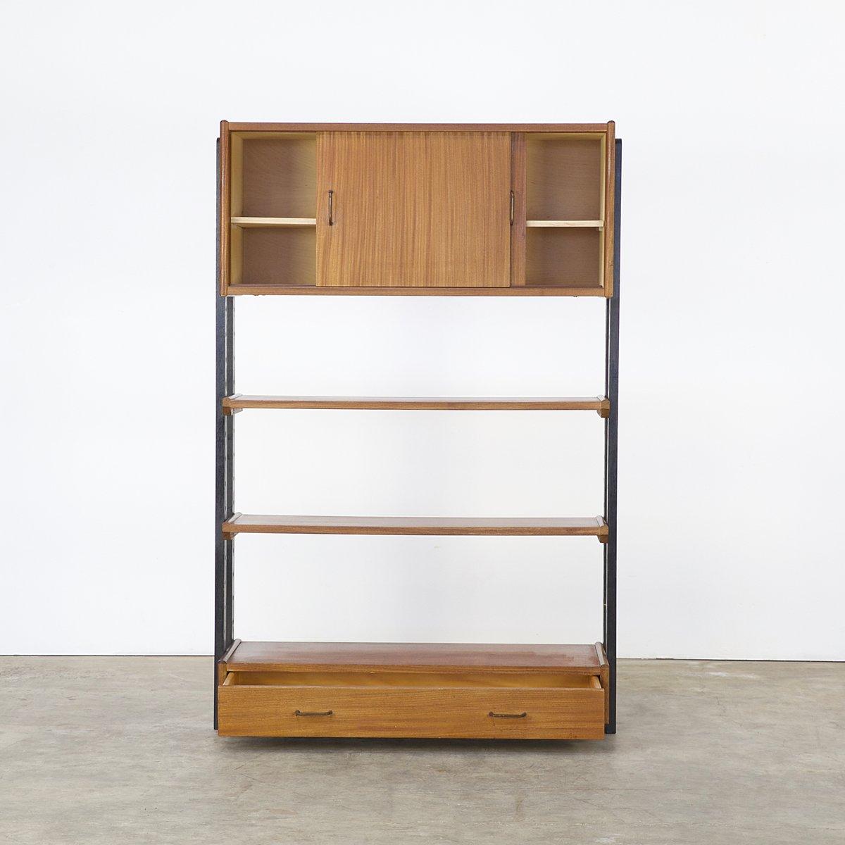 wandregal aus teak holz von simpalux 1950er bei pamono kaufen. Black Bedroom Furniture Sets. Home Design Ideas