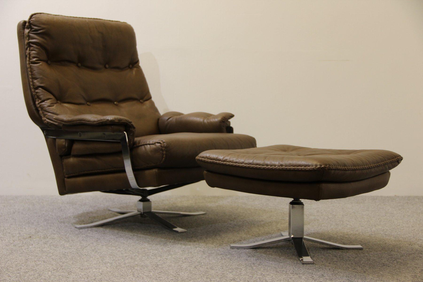 retro b ffelleder sessel fu hocker von arne norell f r vatne bei pamono kaufen. Black Bedroom Furniture Sets. Home Design Ideas