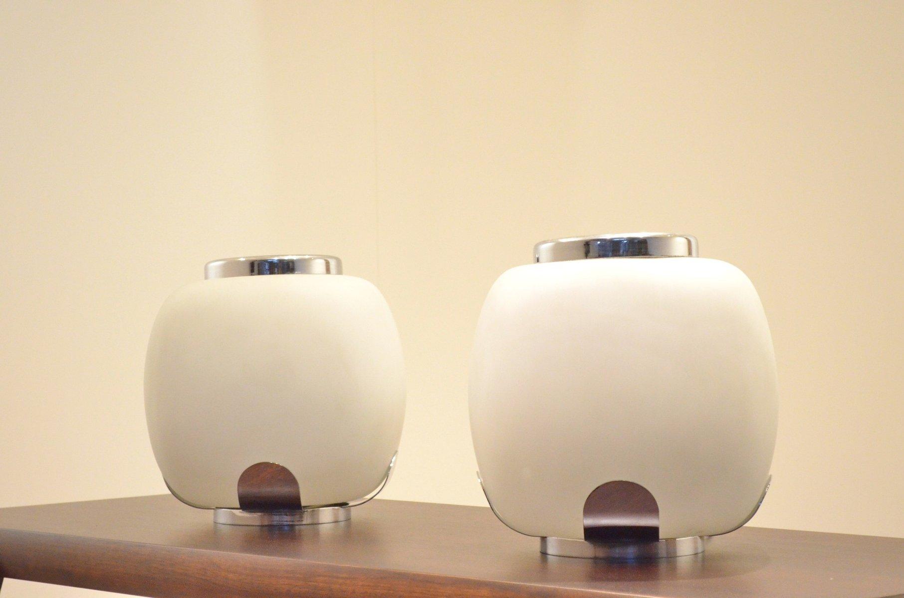 Milchglas & Chrom Blumenvasen Lampen von Alfredo Barbini, 2er Set
