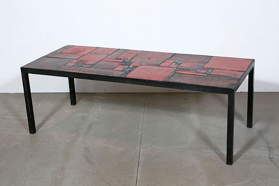 table vintage en c ramique rouge par pia manu en vente sur pamono. Black Bedroom Furniture Sets. Home Design Ideas