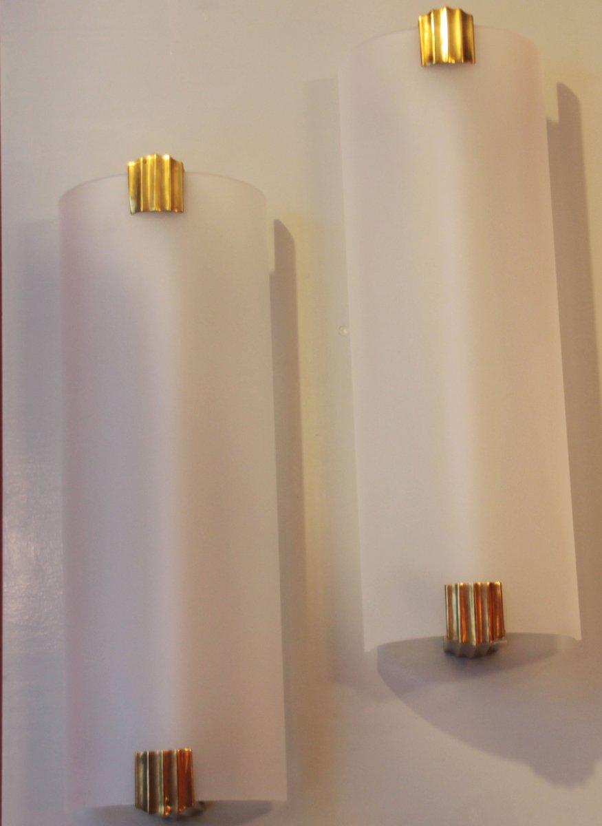 applique art d co in ottone francia in vendita su pamono. Black Bedroom Furniture Sets. Home Design Ideas