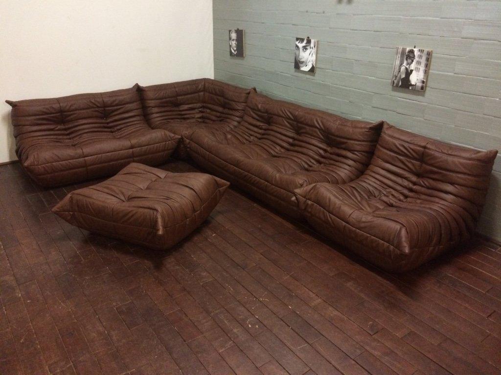vintage togo wohnzimmer set aus braunem leder von michel ducaroy f r ligne roset 1970er bei. Black Bedroom Furniture Sets. Home Design Ideas
