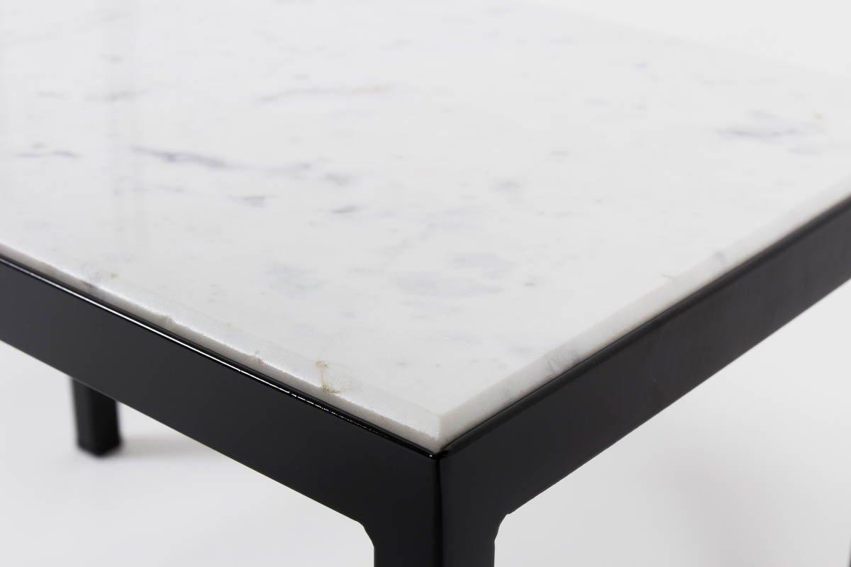 Table basse vintage avec marbre blanc de carrare en vente sur pamono