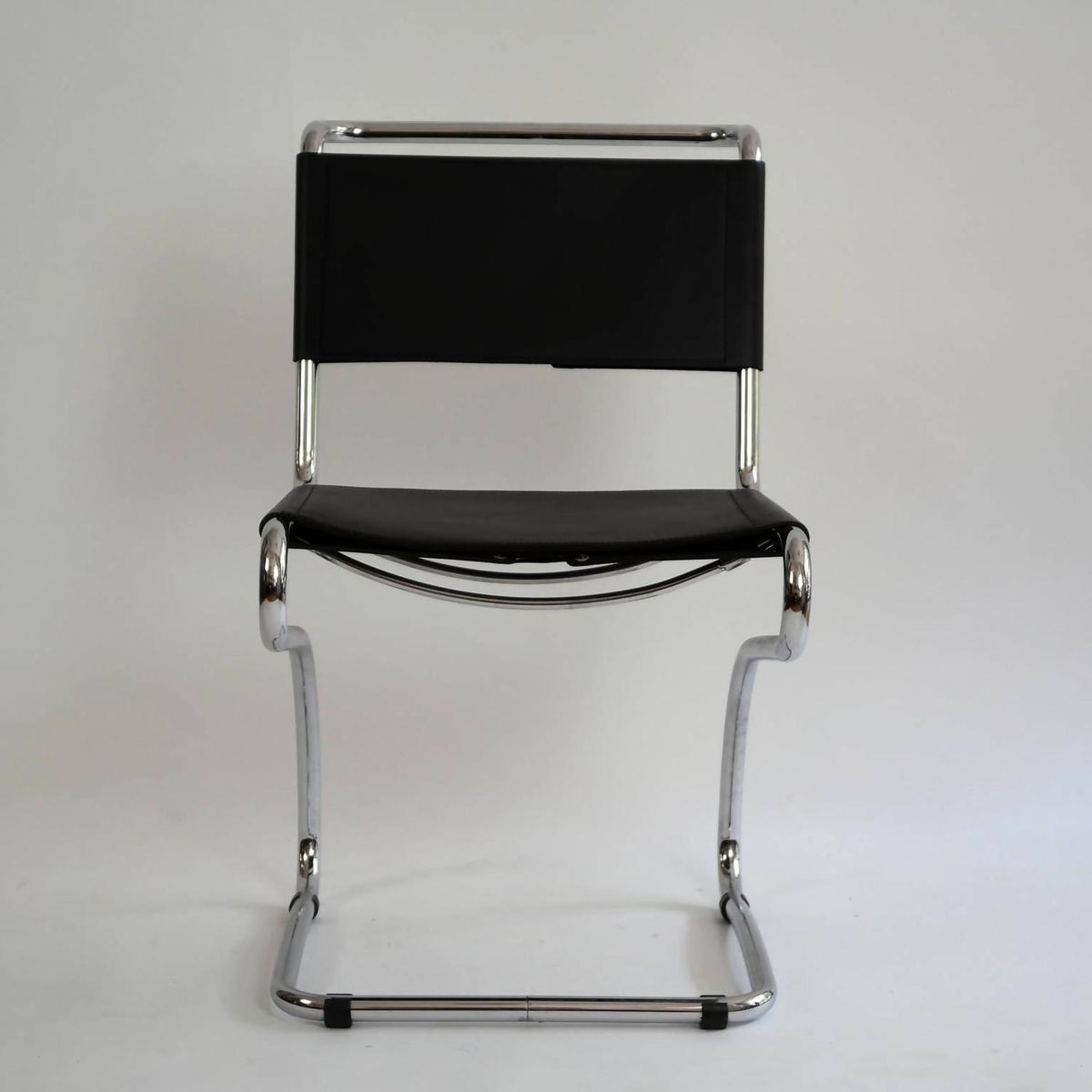 Freischwinger Sessel aus Stahlrohr & Leder von Jindrich