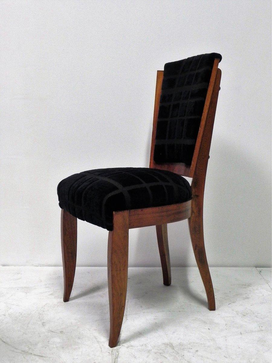 schwarze art deco st hle mit samtbez gen 6er set bei pamono kaufen. Black Bedroom Furniture Sets. Home Design Ideas
