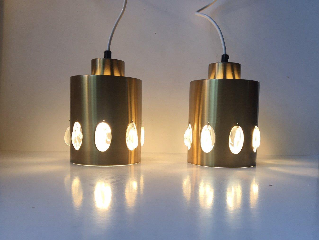 Lampes suspension mid century en laiton et en cristal de - Suspension en cristal ...