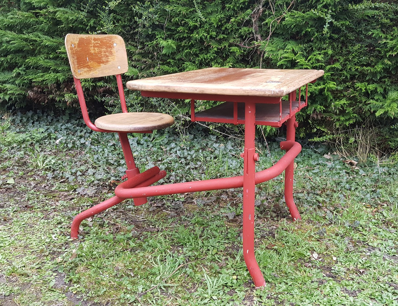 Mid Century School Desk With Attached Chair