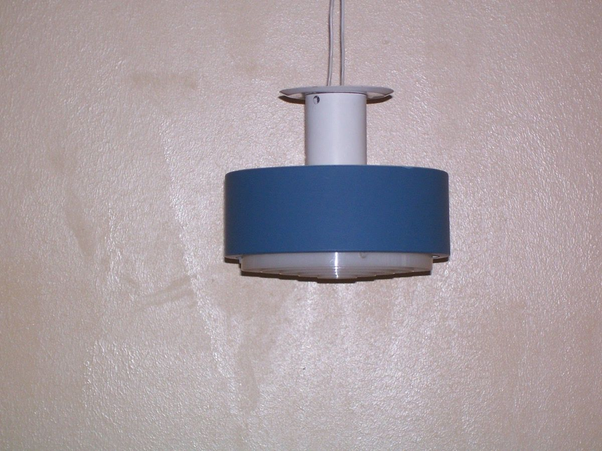 Blau und Weiße Hängelampe von Philips, 1950er