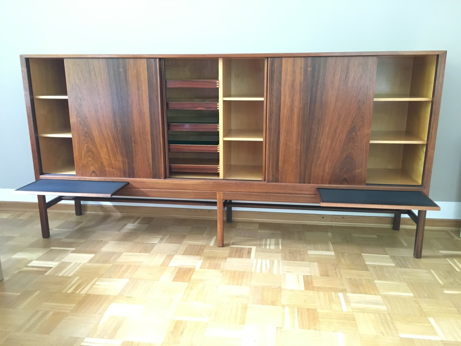 Vintage Rosewood Sideboard With Four Sliding Doors Four Drawers