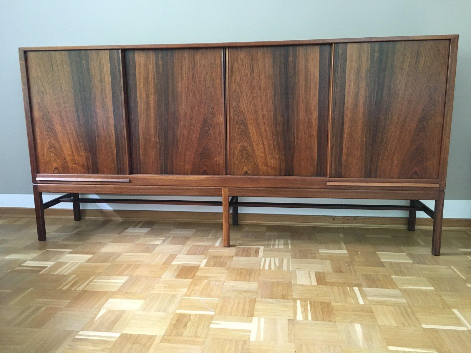 Palisander Vintage Sideboard mit Vier Schiebetüren & Vier Schubladen