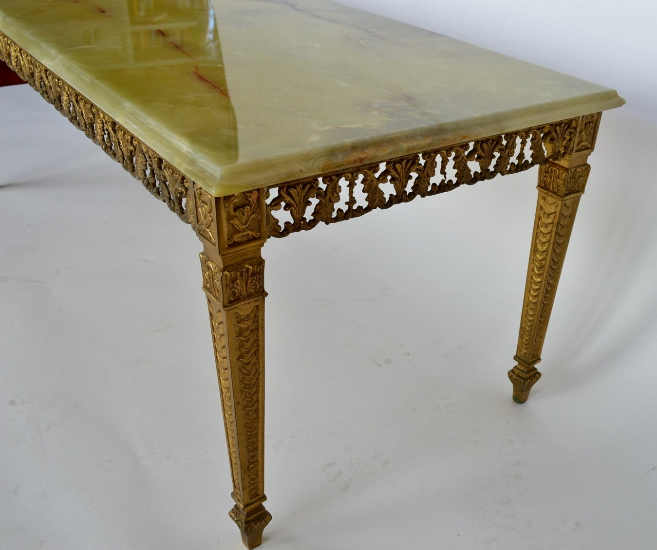 Marble Coffee Table Ireland: Green Onyx Marble & Brass Coffee Table, 1970s For Sale At