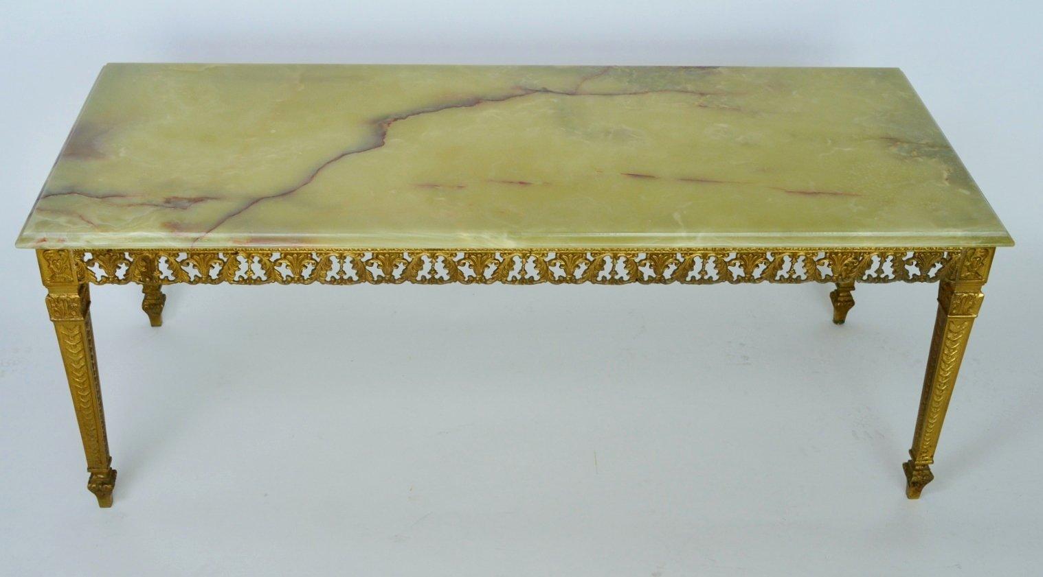 table basse en marbre et en laiton verte 1970s en vente sur pamono. Black Bedroom Furniture Sets. Home Design Ideas