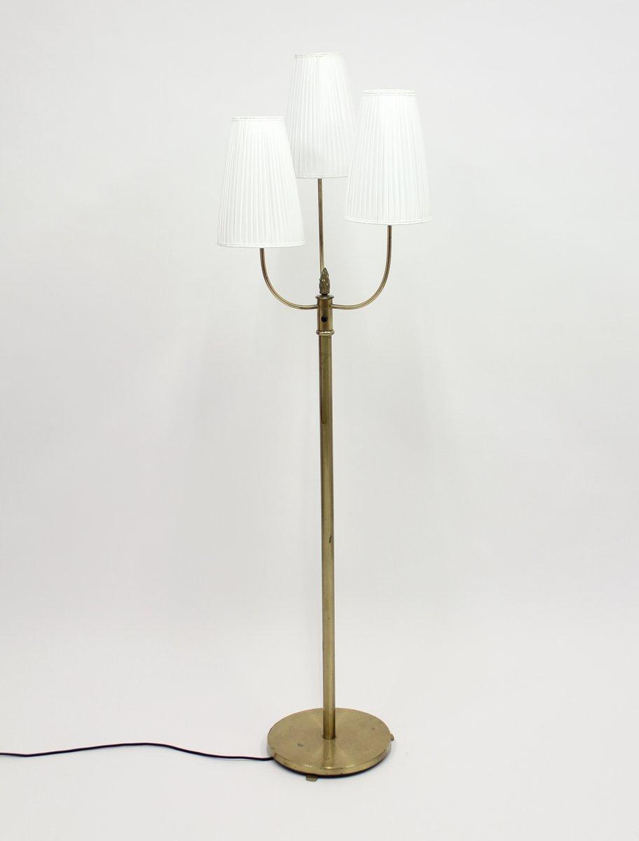 Vintage Messing Stehlampe mit Drei Leuchten, 1940er