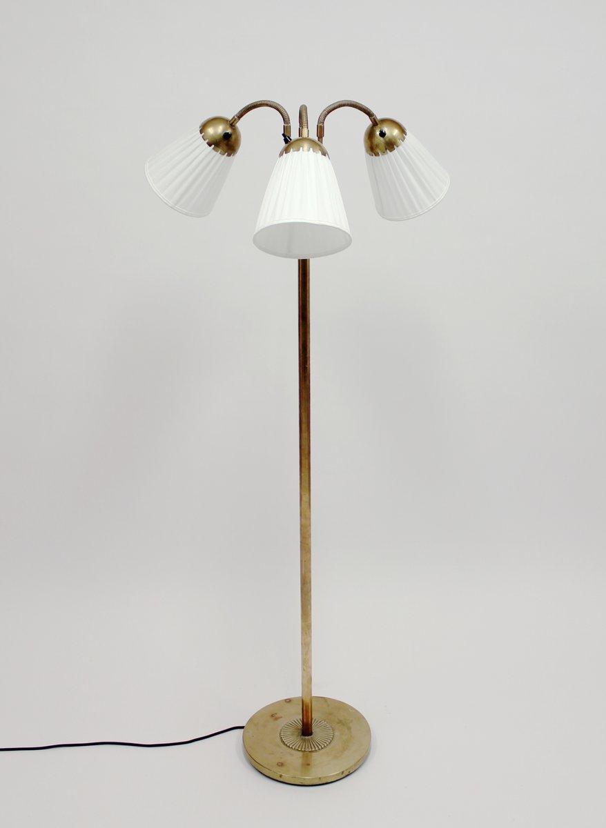 Messing Stehlampe mit Drei Leuchten, 1940er