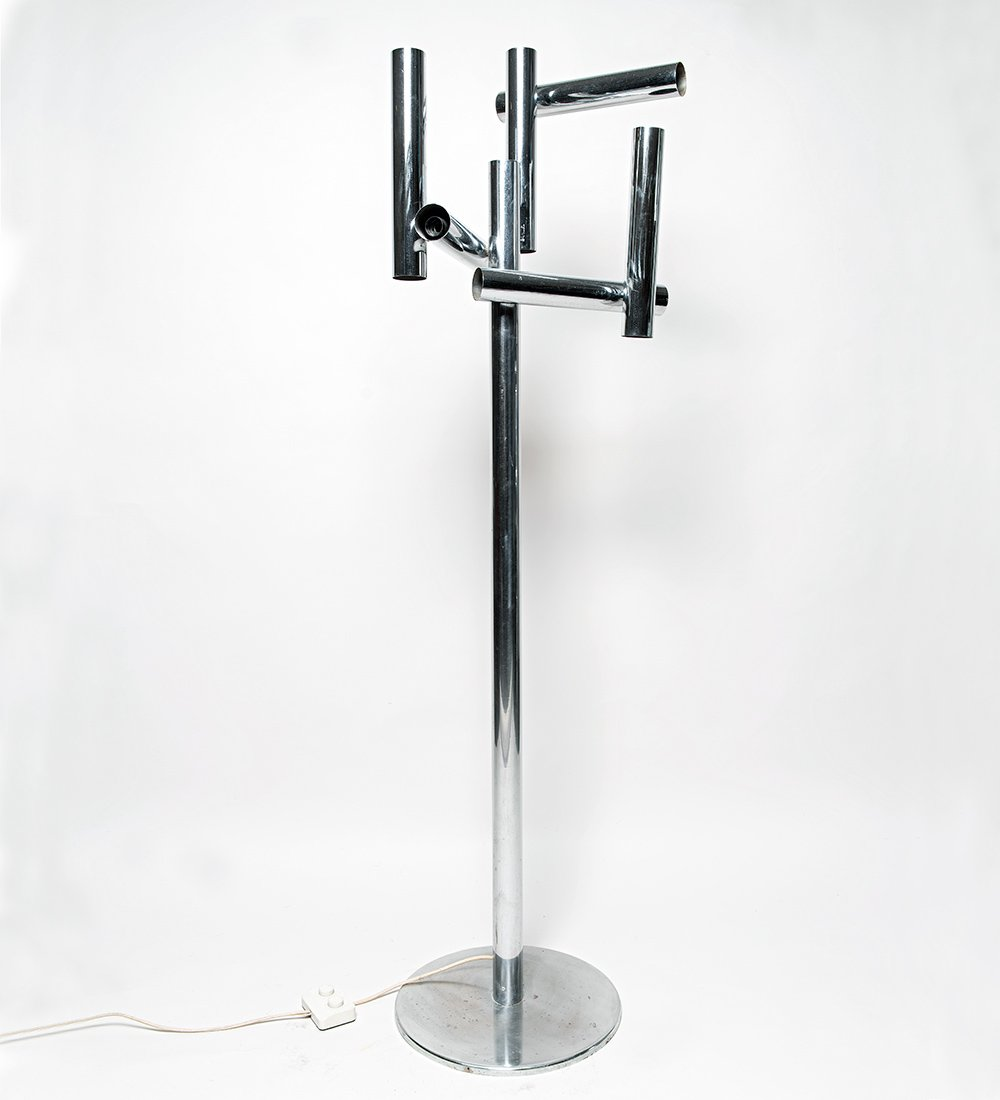 Italienische Verchromte Mid-Century Stehlampe
