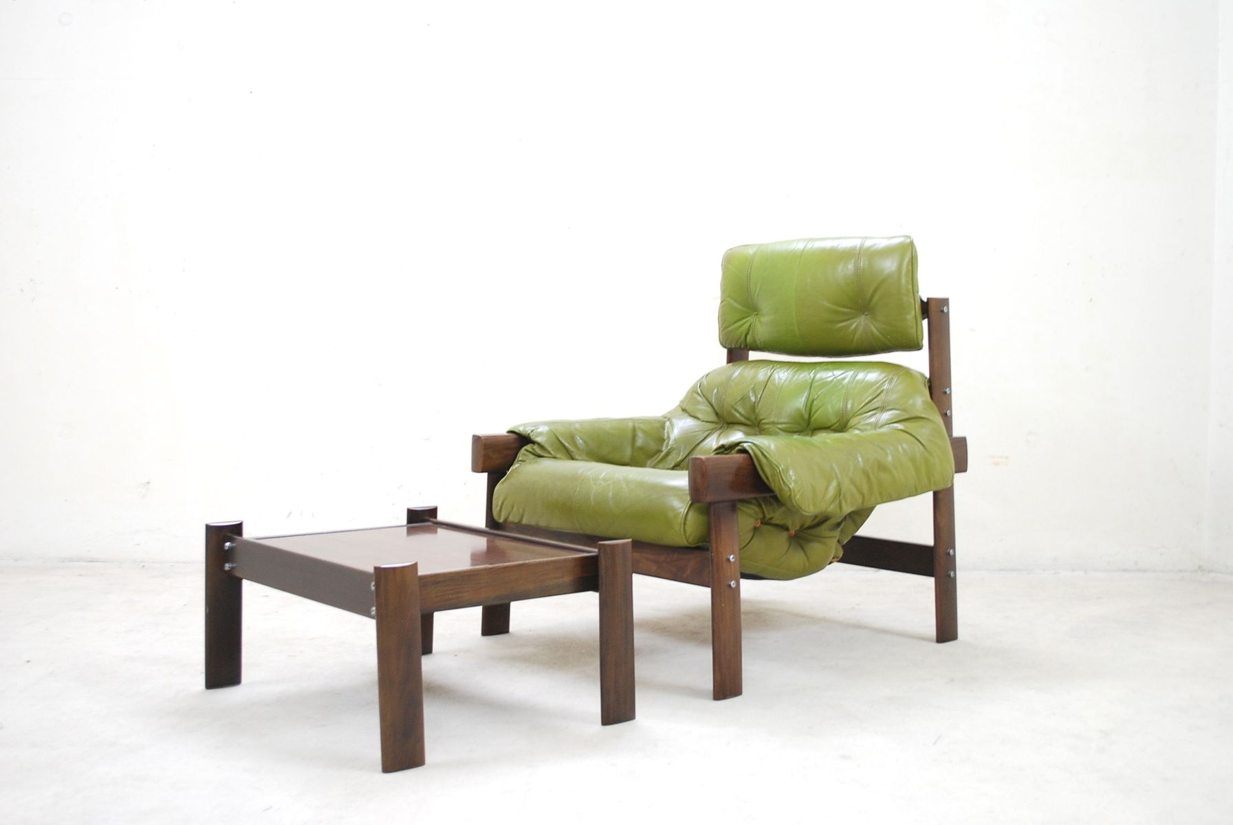 Model MP 041 Lime Green Leather Lounge Chair U0026 Ottoman From Percival Lafer,  1961