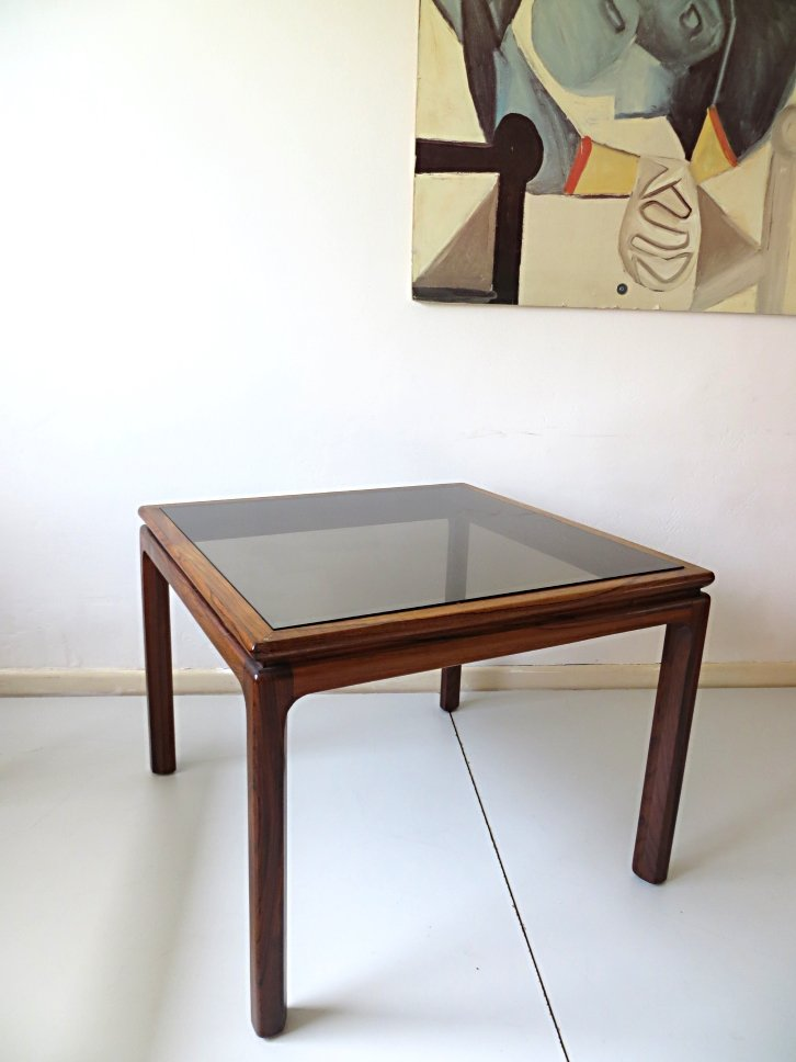 Danish Rosewood And Smoked Glass Coffee Table, 1960s