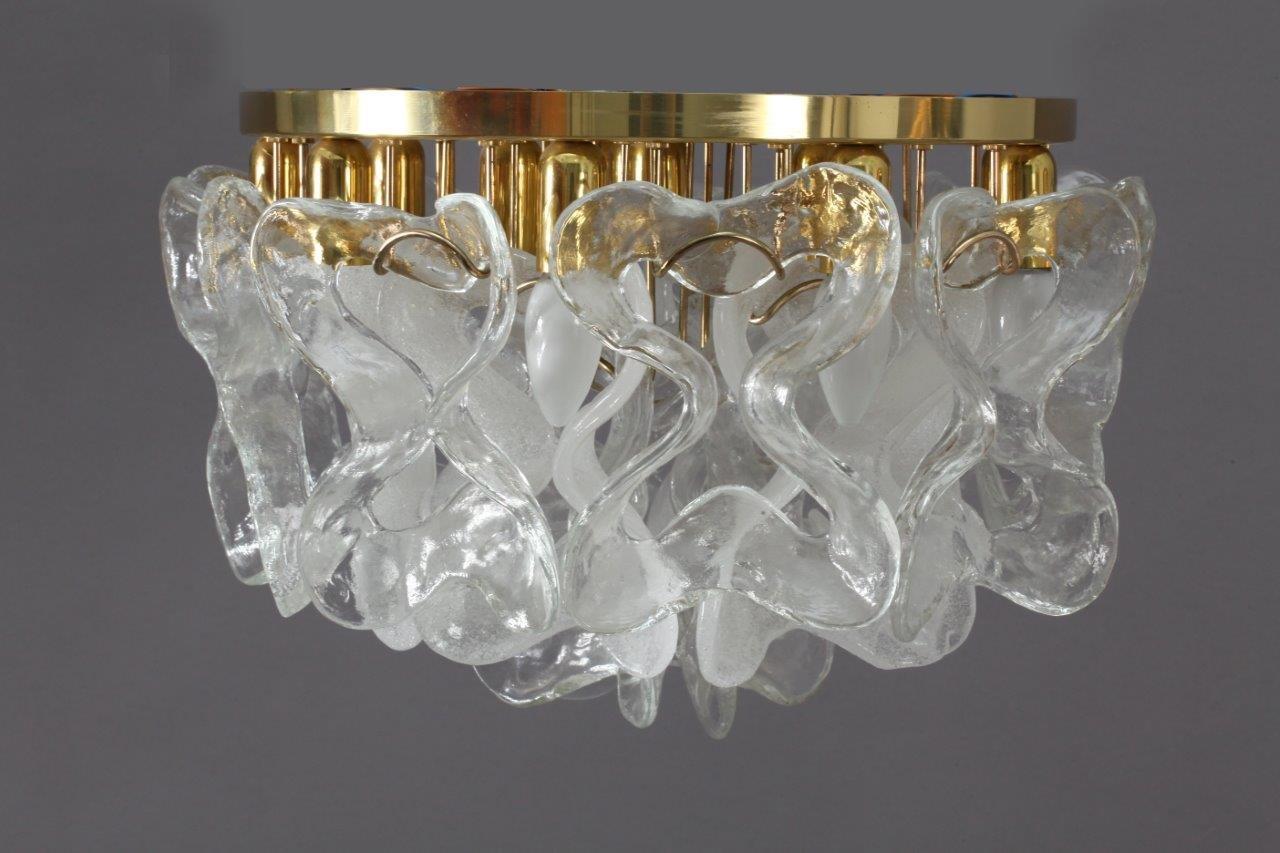 Crystal Glass Flush Mount Ceiling Light From J T Kalmar 1970s