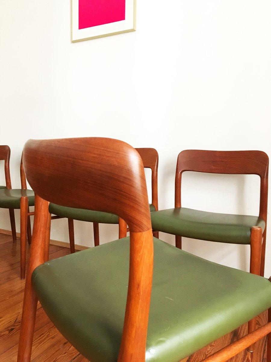 mid century modell 75 esszimmerst hle aus gr nem leder von niels o m ller f r j l m llers. Black Bedroom Furniture Sets. Home Design Ideas