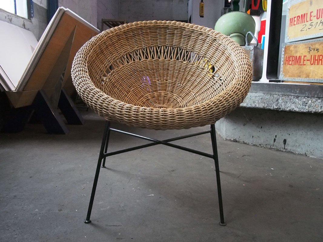 Sedia basket a forma di conchiglia vintage in vendita su pamono