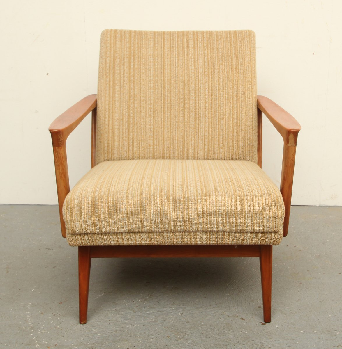 Mid Century Solid Cherry Wood Lounge Chair, 1950s