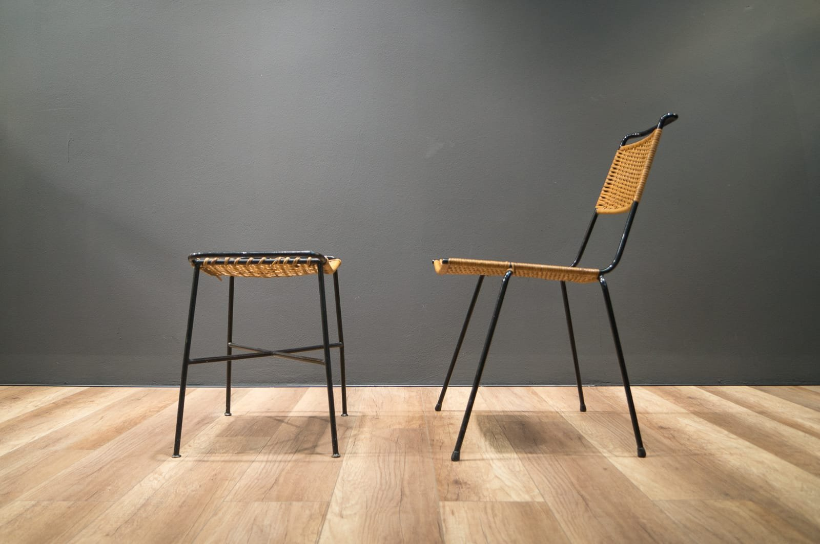 Mid Century Wicker Chair And Stool By Paul Schneider Esleben Set Of 2
