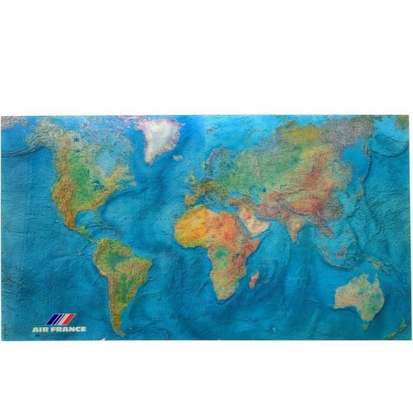 Vintage Acrylic World Map by M. Morel for Air France, 1980 for sale ...