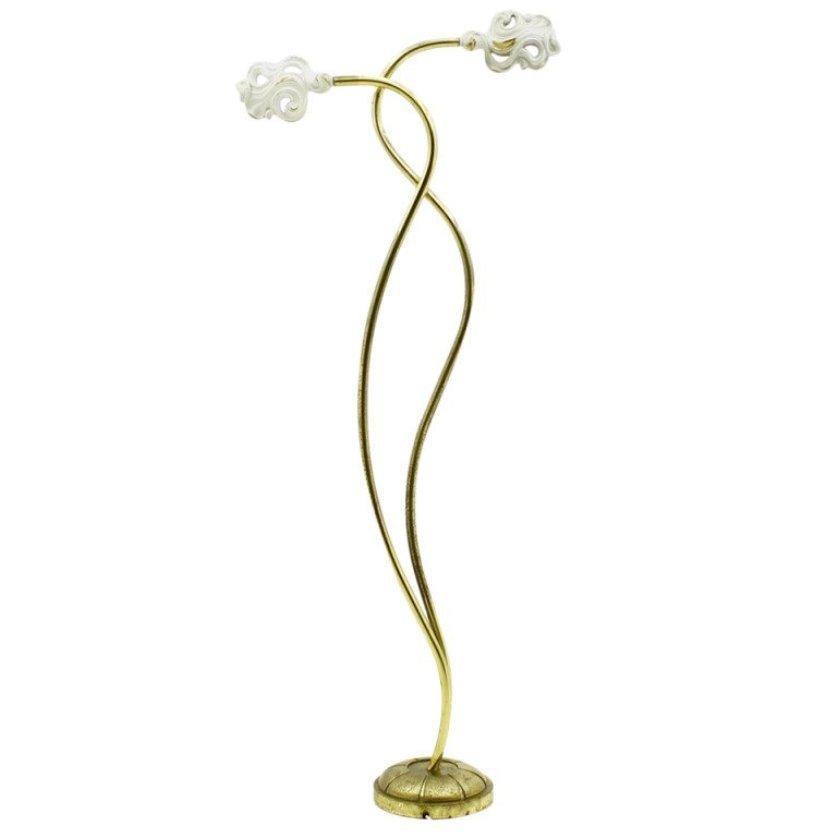 Florale Italienische Mid-Century Stehlampe aus Messing mit Weißen Schi...