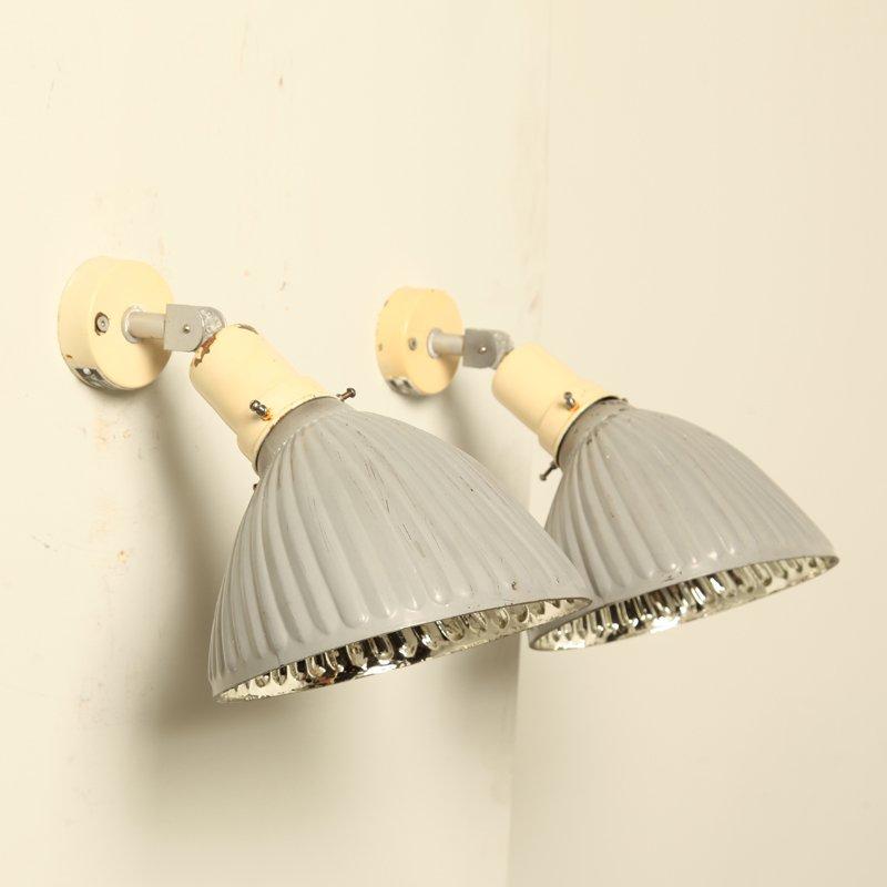 Geriffelte Silberfarbene Art Deco Glas Wandlampen, 1920er, 2er Set