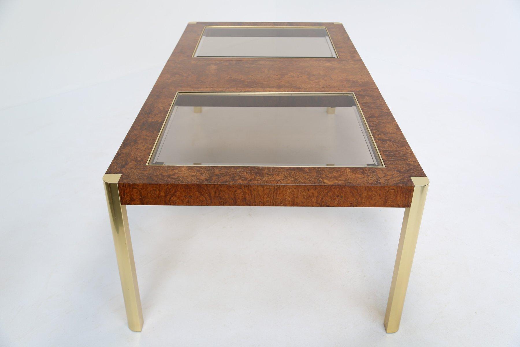 Esstisch aus Wurzelholz, Messing & Glas von Century Furniture, 1970er
