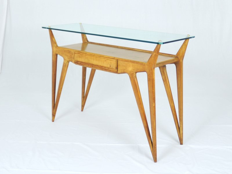 table console en bois biologique et verre italie 1940s en vente sur pamono. Black Bedroom Furniture Sets. Home Design Ideas