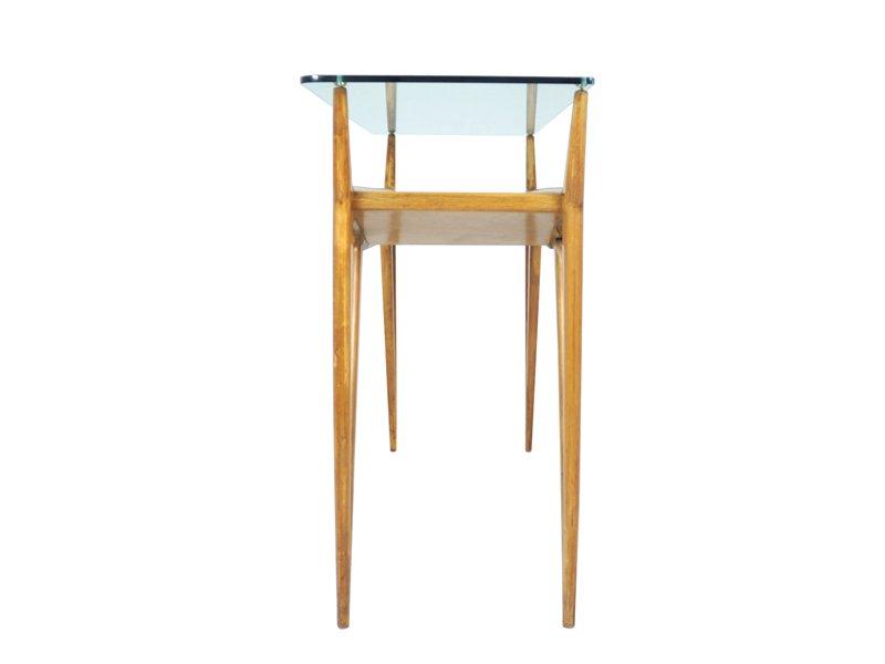 table console en bois biologique et verre italie 1940s en. Black Bedroom Furniture Sets. Home Design Ideas