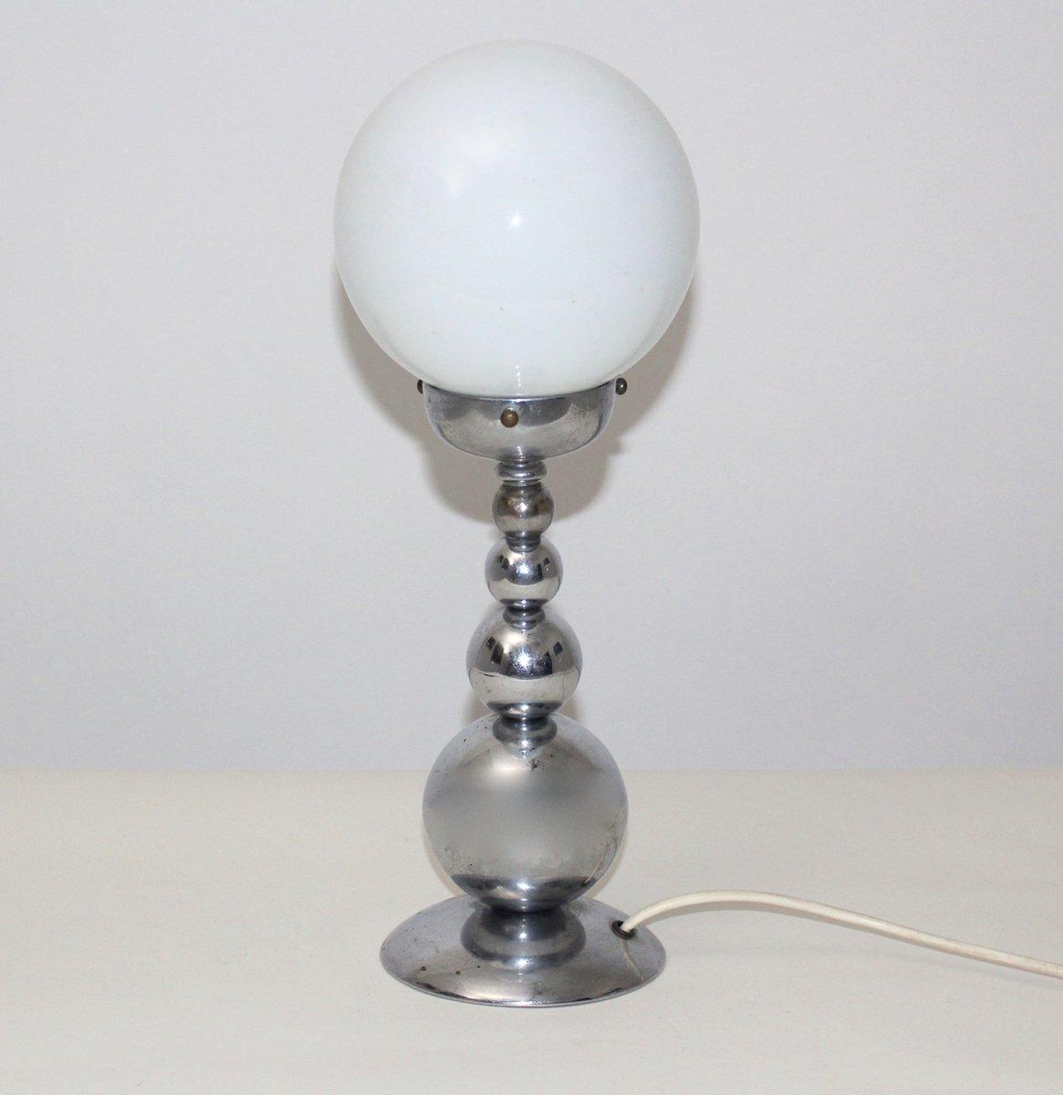 franz sische tischlampe mit wei em runden schirm 1950er bei pamono kaufen. Black Bedroom Furniture Sets. Home Design Ideas