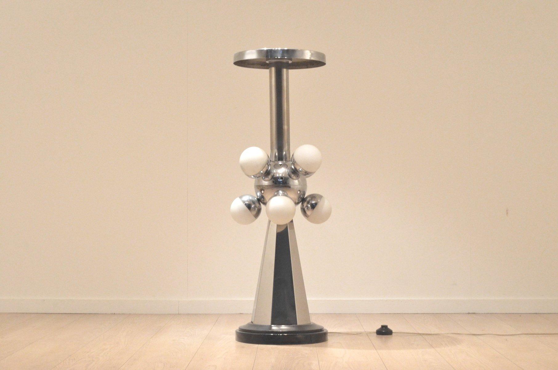 Mid-Century Sputnik Chrom Lampe mit Ablage, 1960er