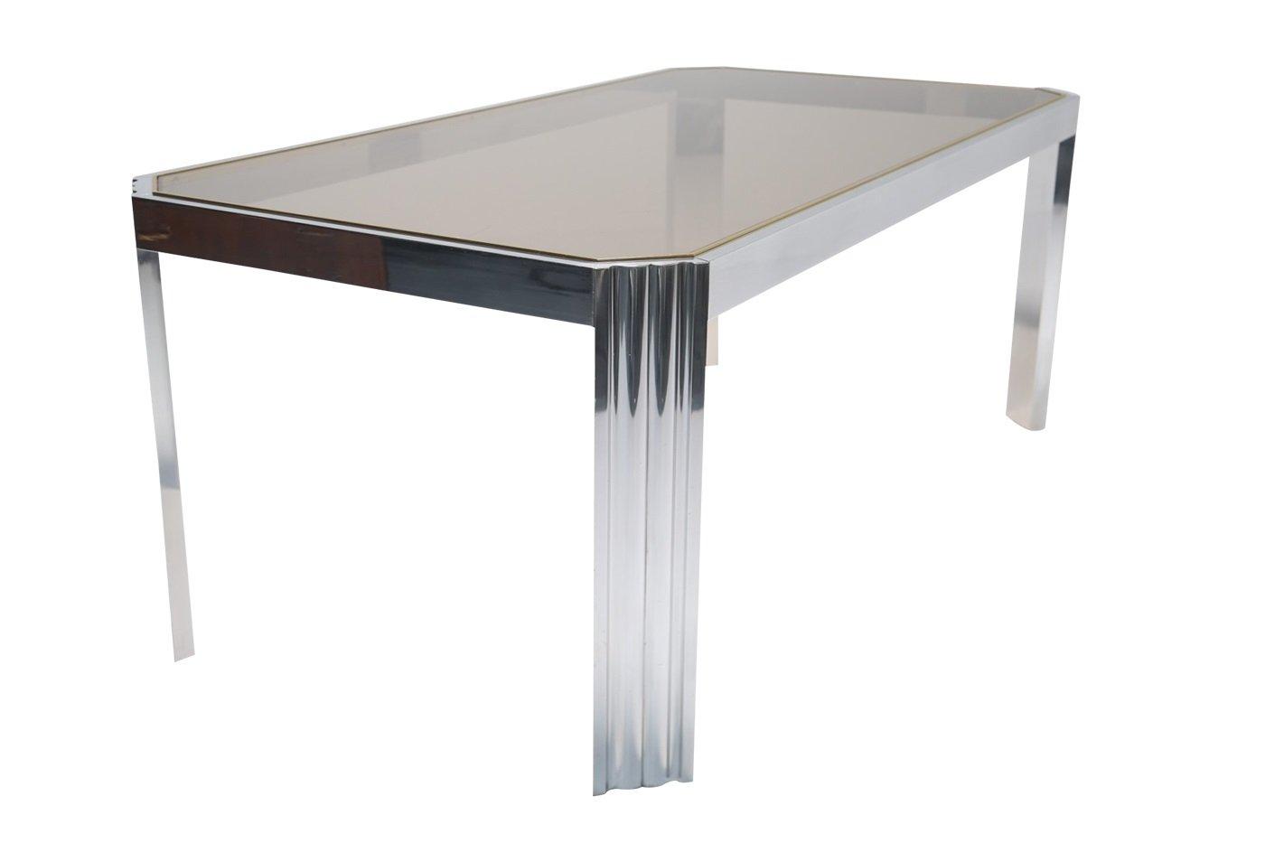 Table de salle manger en aluminium et verre fum 1970s en vente sur pamono for Table de salle a manger en verre