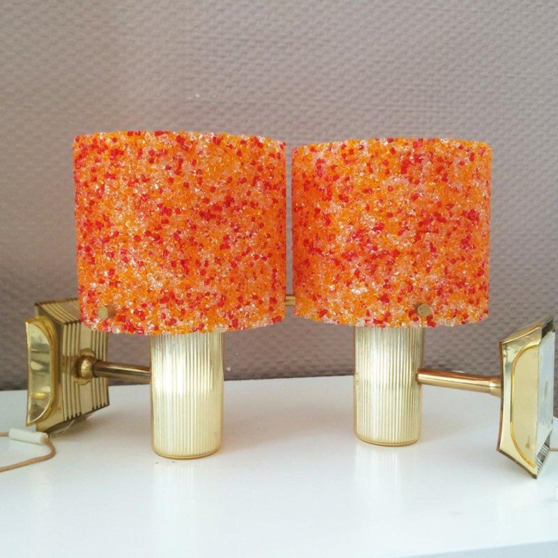 Orange Kunststoff Tischlampen in Granit Optik, 2er Set