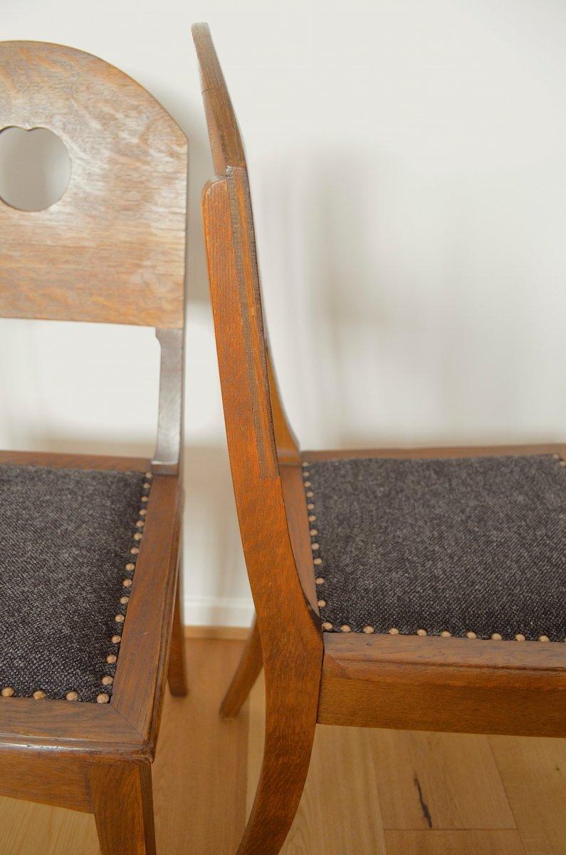 eichenholz st hle von richard riemerschmid f r deutsche werkst tten hellerau 1900er 2er set. Black Bedroom Furniture Sets. Home Design Ideas