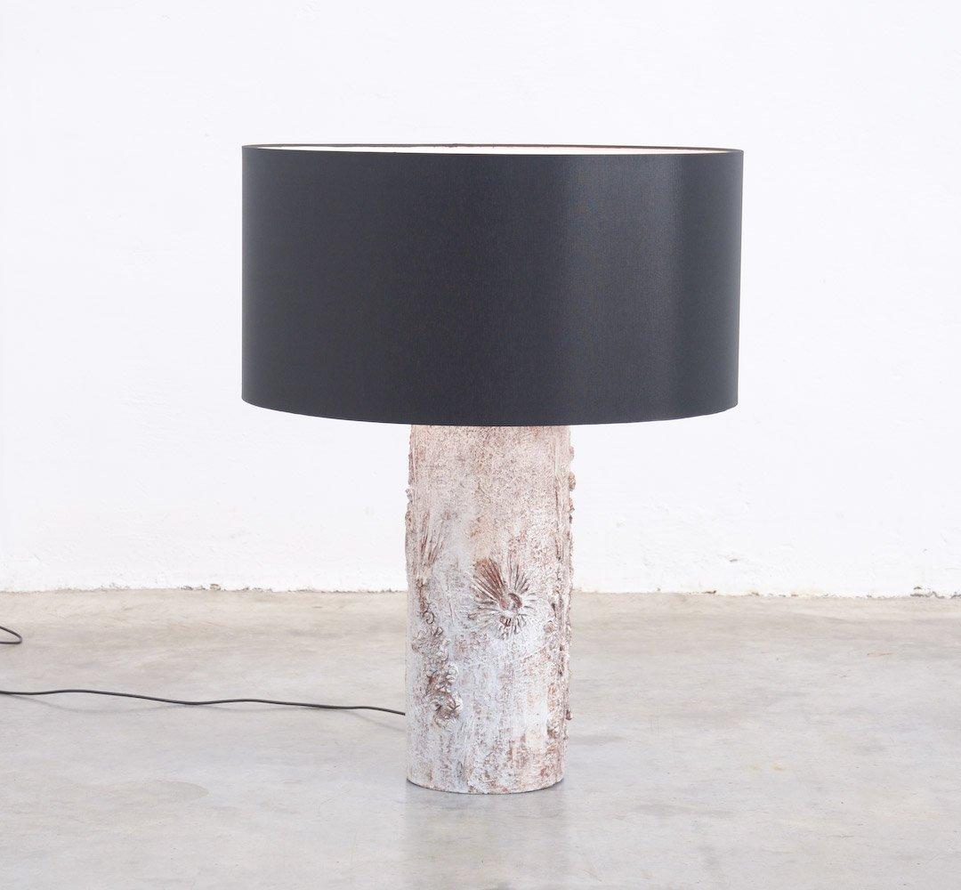 Weiße Brutalistische Keramik Tischlampe von Willy Meysmans