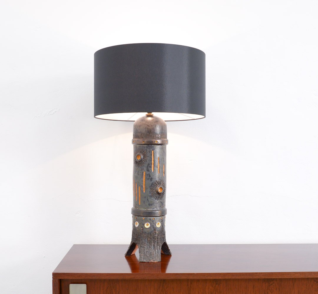Vintage large black ceramic table lamp from baudouin monteyne for vintage large black ceramic table lamp from baudouin monteyne aloadofball Gallery