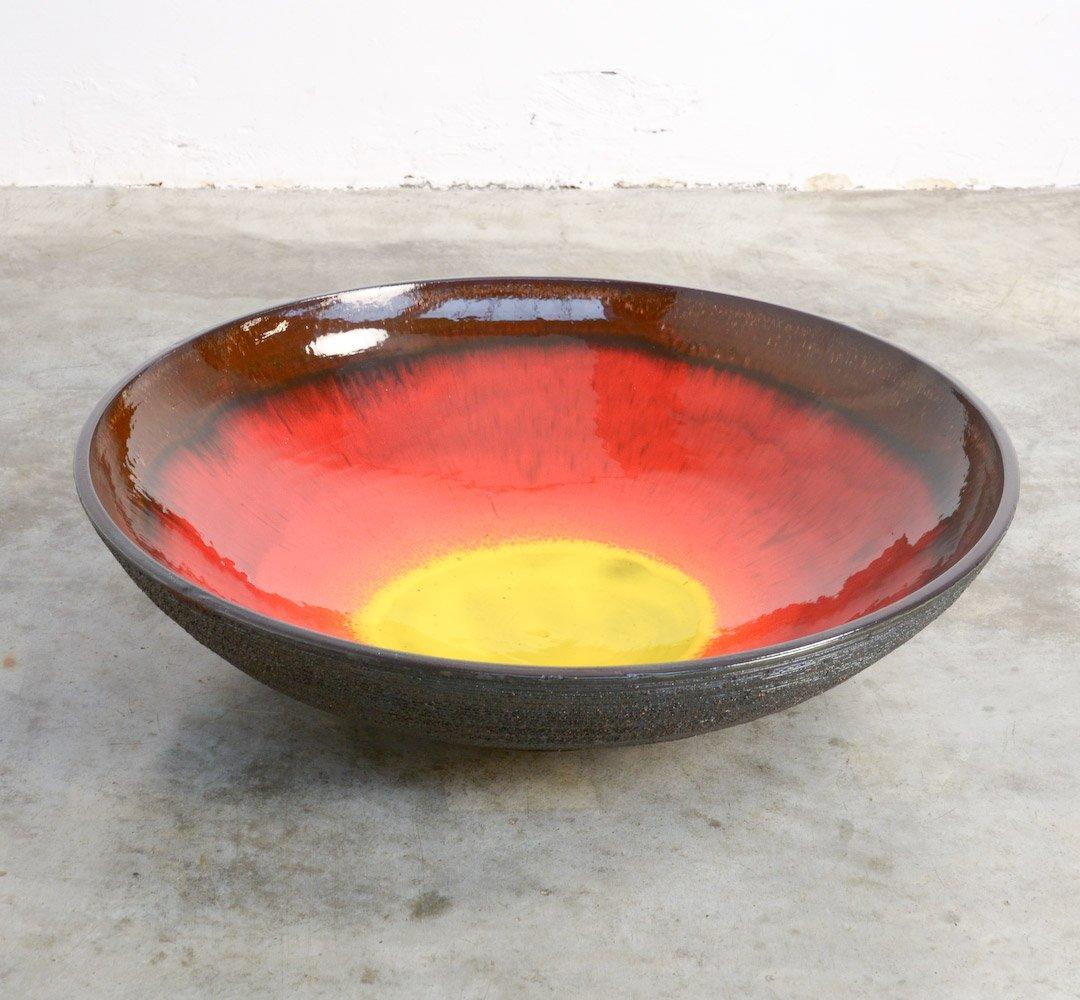 Große Mid-Century Keramik Schale von Rogier Van...