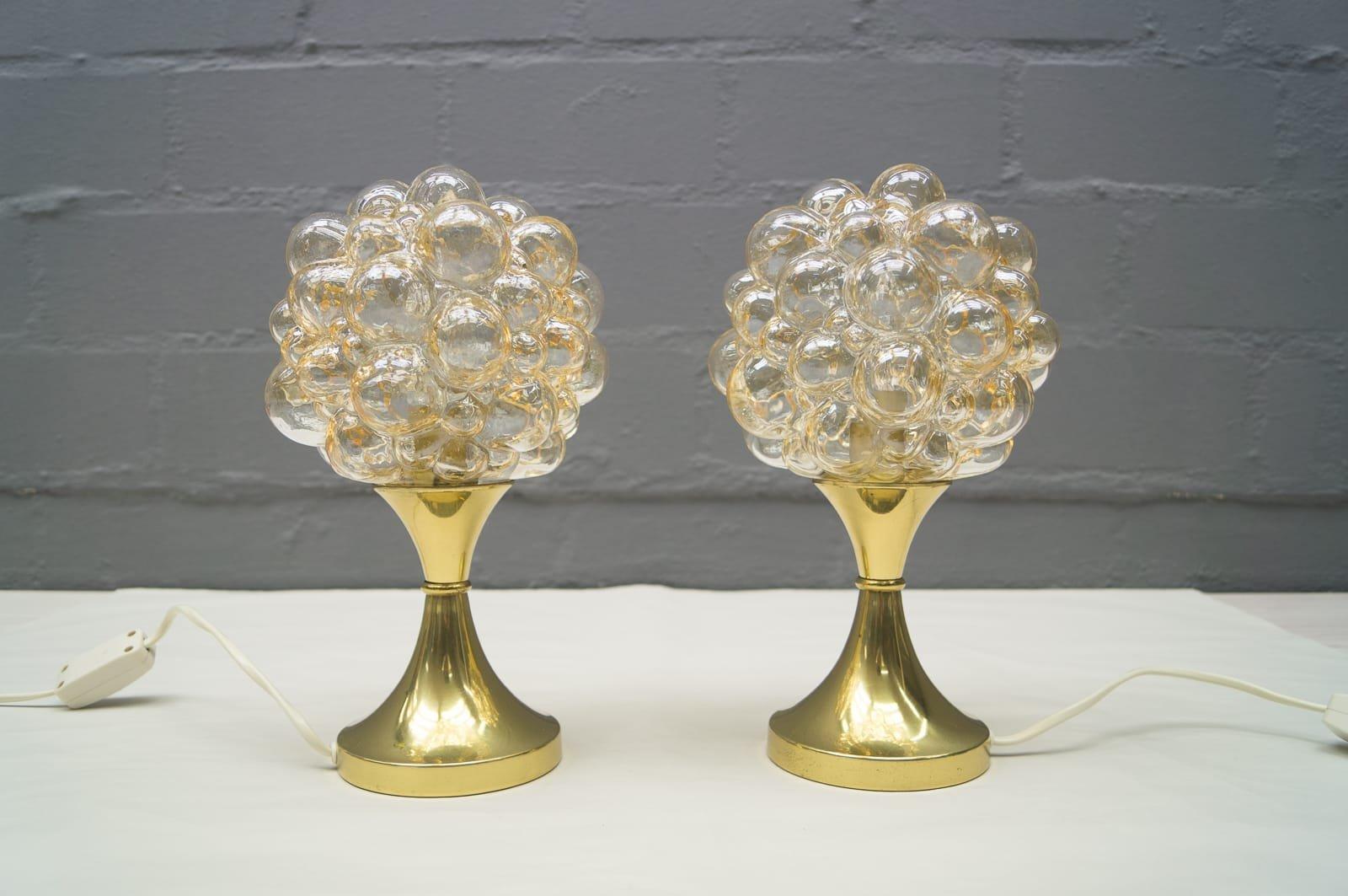 Vintage Bubble Glas Tischlampen von Helena Tynell für Limburg, 2er Set