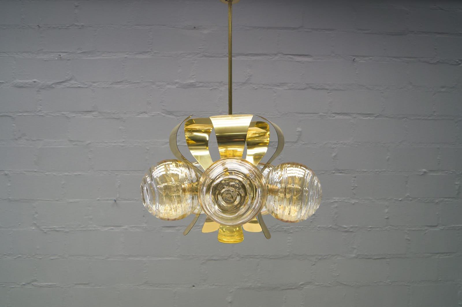 Orbit Deckenlampe aus Messing, 1960er