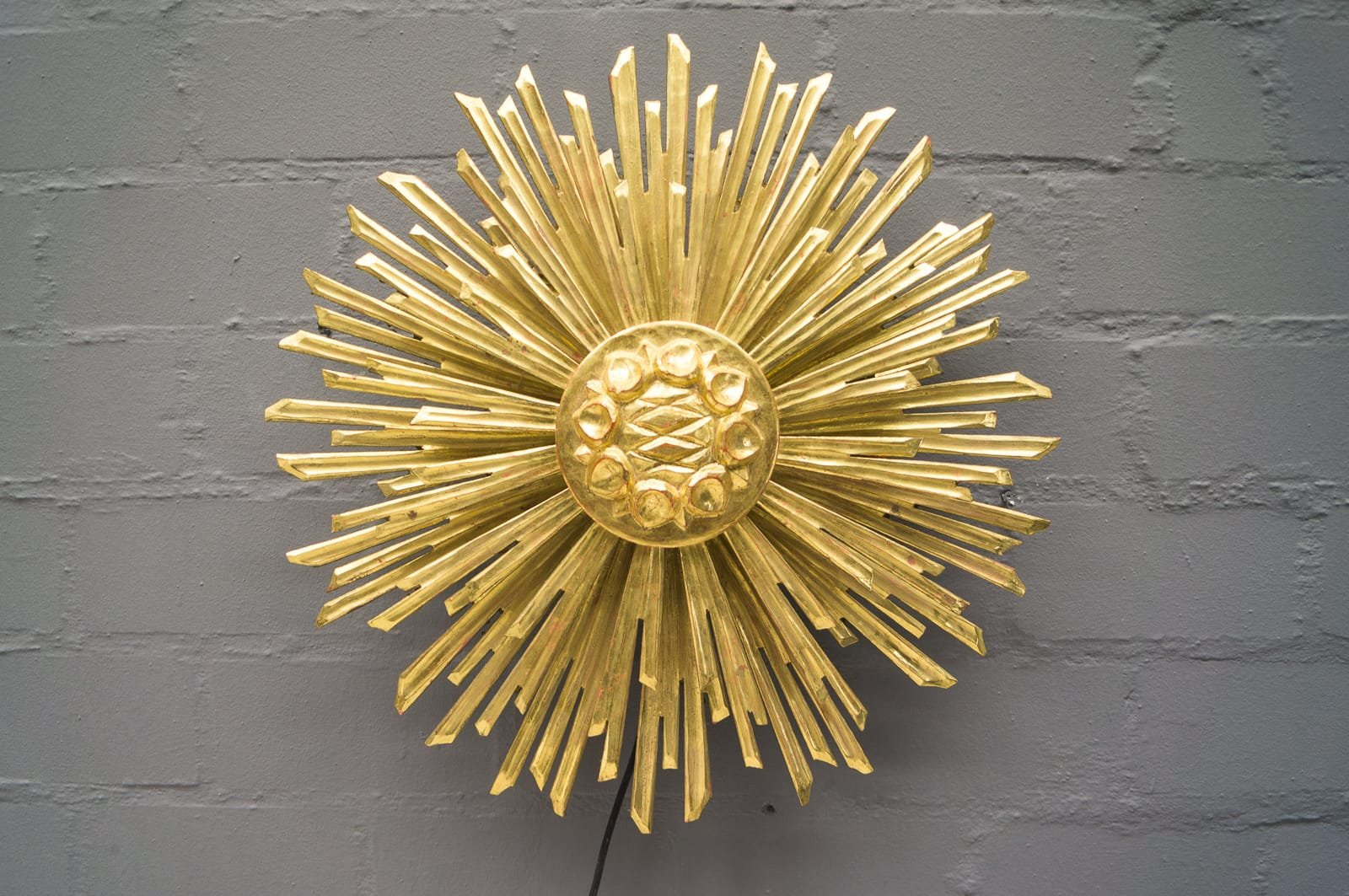 Large Wooden Sunburst Wall Lamp, 1960s for sale at Pamono
