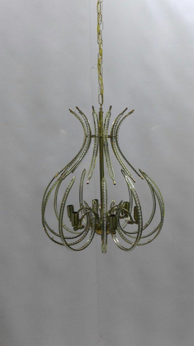 Messing und Kristallglas Kronleuchter von the Ceiling, 20. Jh., 2er Se...